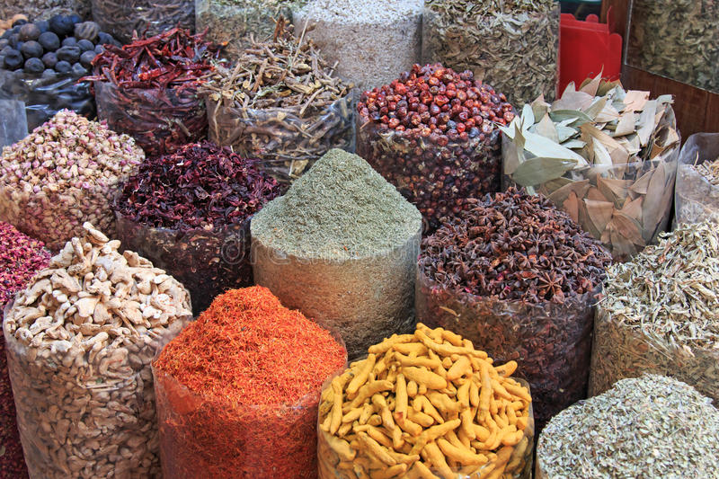 Spices in the spice souk in Dubai.  royalty free stock image