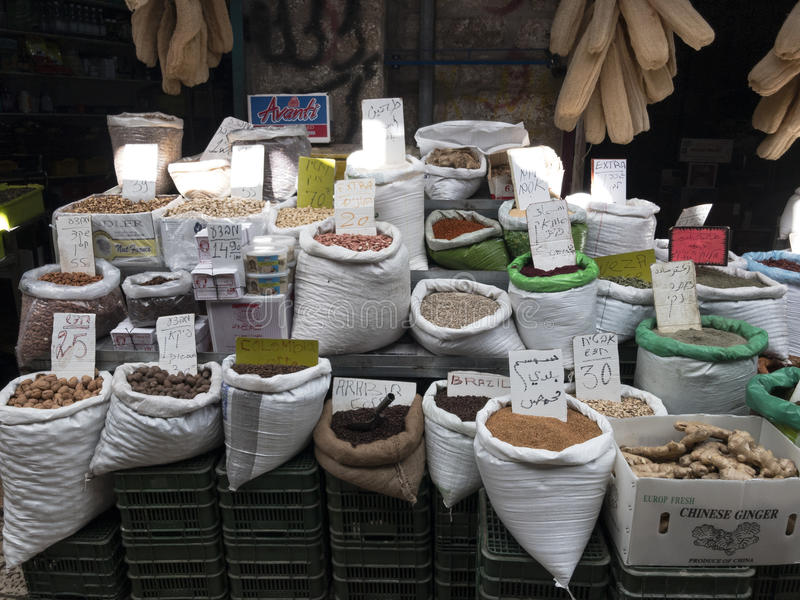 Spices on street market in Akko or Acre royalty free stock image