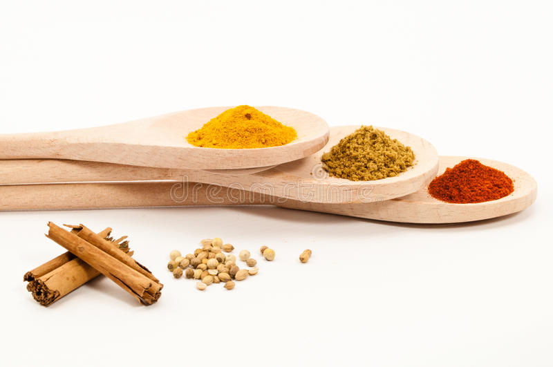 Spices on Three Spoons royalty free stock photography