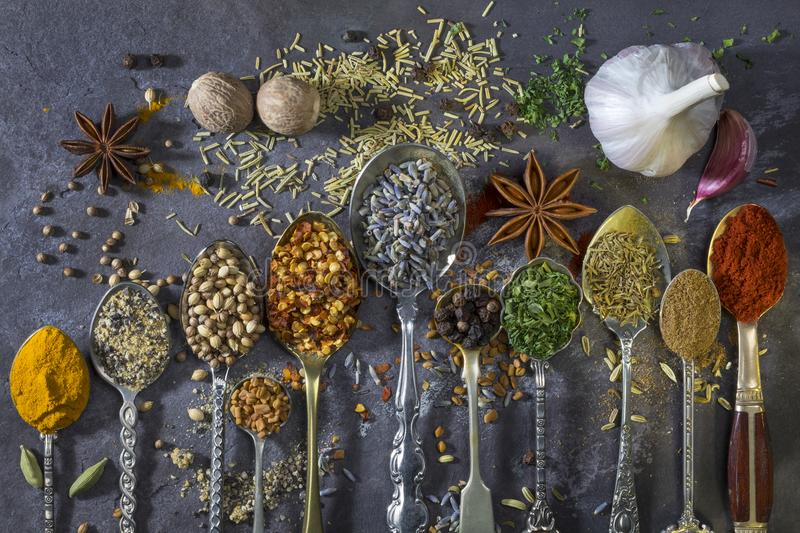 Spices used to add flavor to cooking royalty free stock image