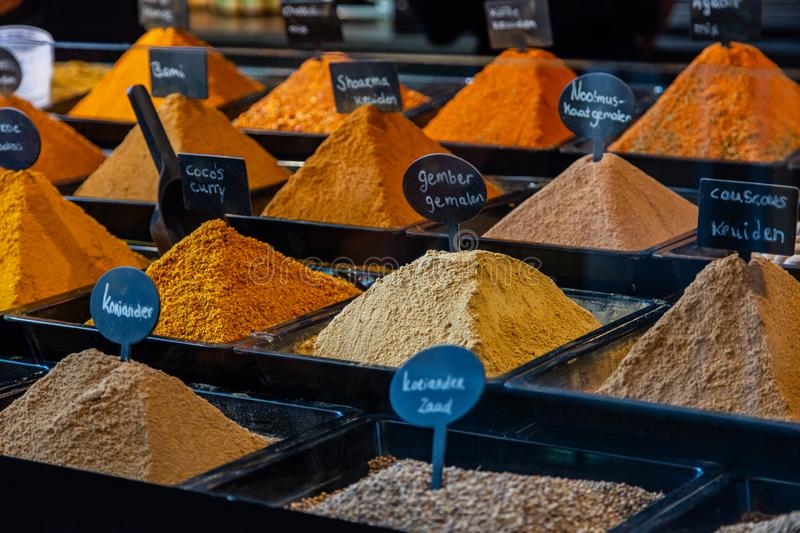 Spices variety in a store in Rotterdam, Netherlands royalty free stock photo
