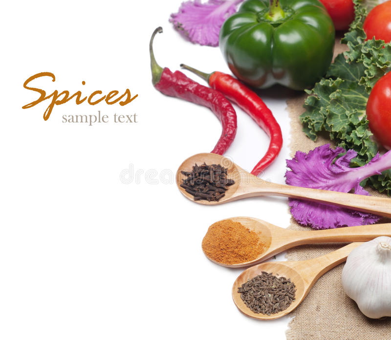 Spices and vegetables royalty free stock photos