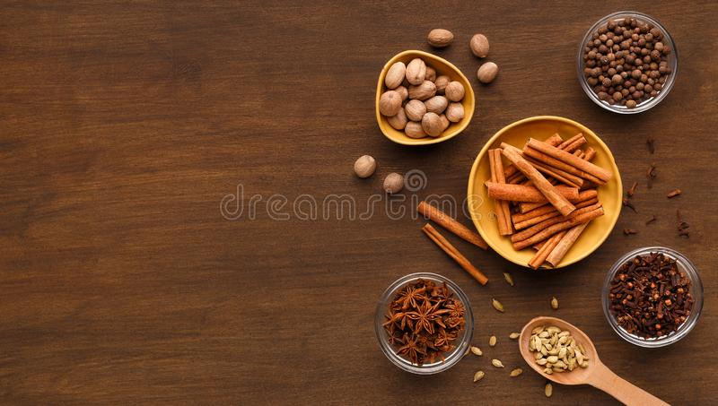 Spices winter collection concept stock image