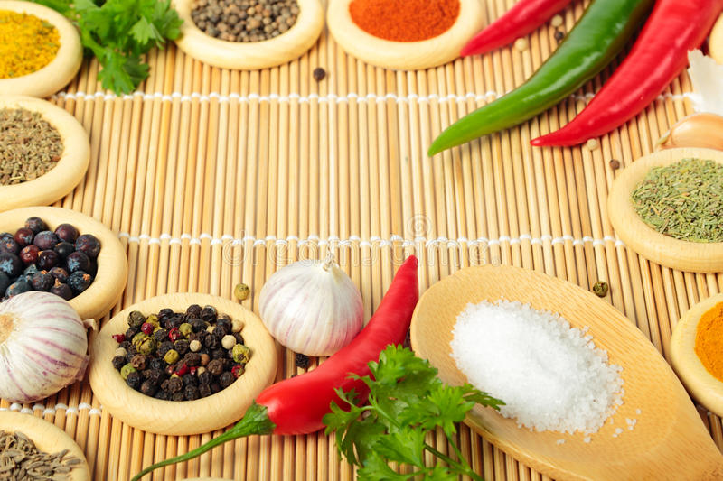Spices. Wooden rings with different spices. Cooking ingredients royalty free stock photo