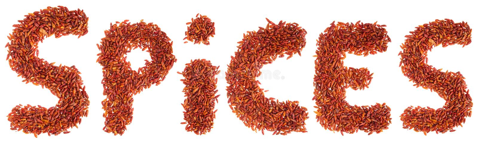 Spices written with chilli peppers royalty free stock images