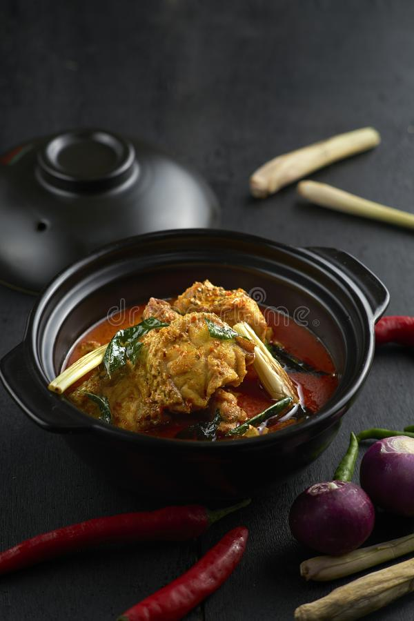 Curry Fish in Clay Pot royalty free stock photo