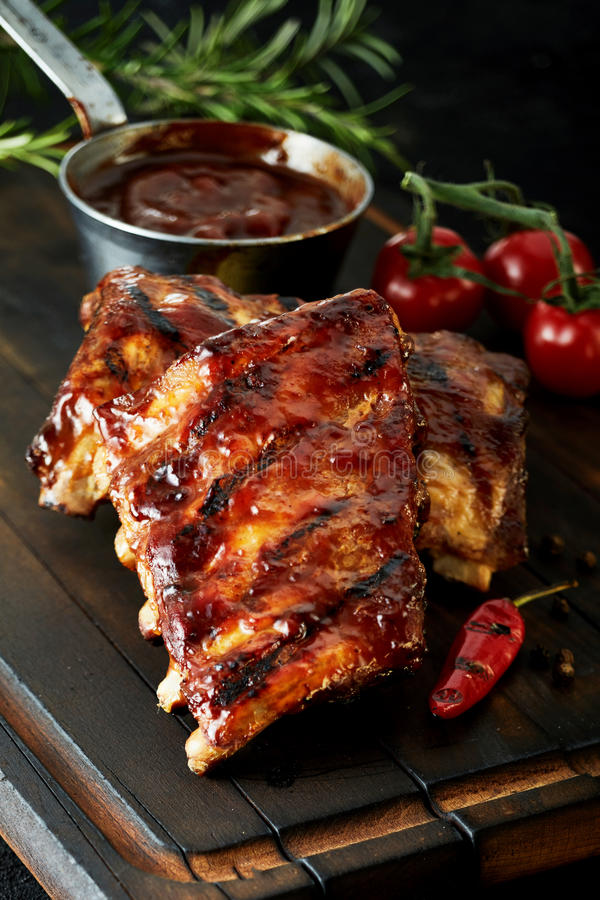 Spicy barbecued marinaded chili spare ribs royalty free stock photos