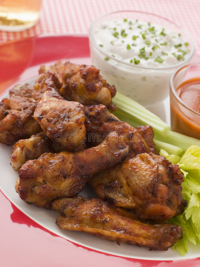 Spicy Buffalo Wings with Blue Cheese Dip royalty free stock photography