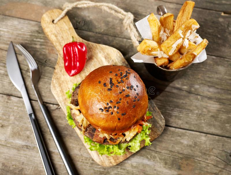 Spicy burger and fries stock image