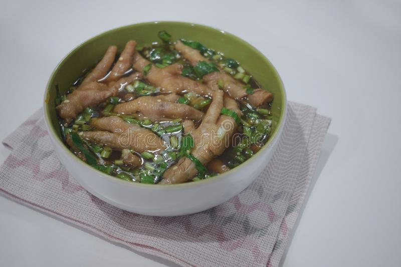 Spicy chicken feet thai food style copy space. And selective focus royalty free stock image
