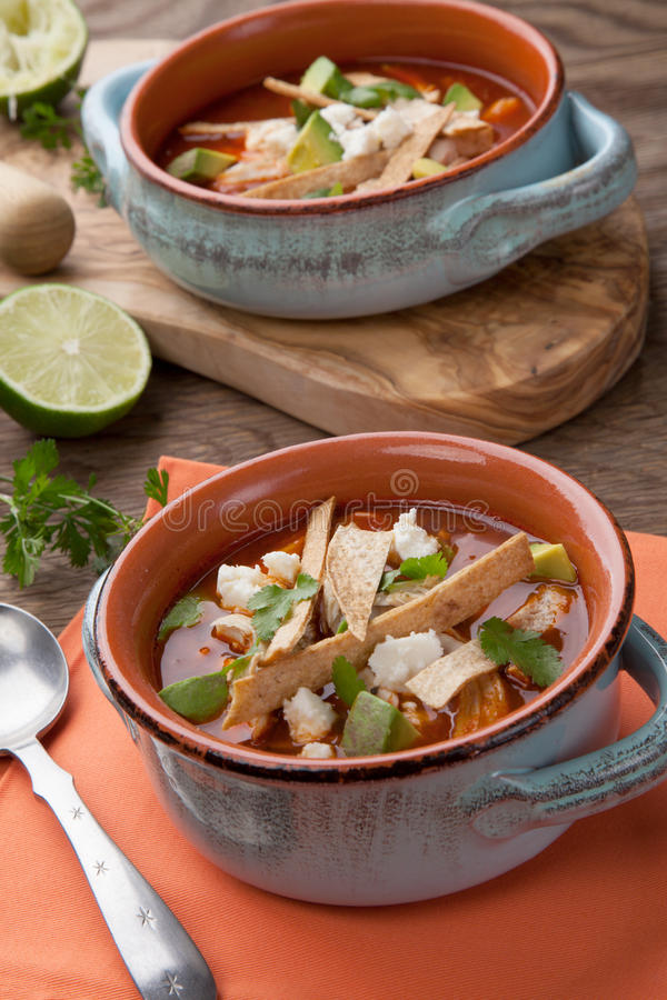 Download Spicy Chicken Tortilla Soup Stock Photo - Image: 90255820