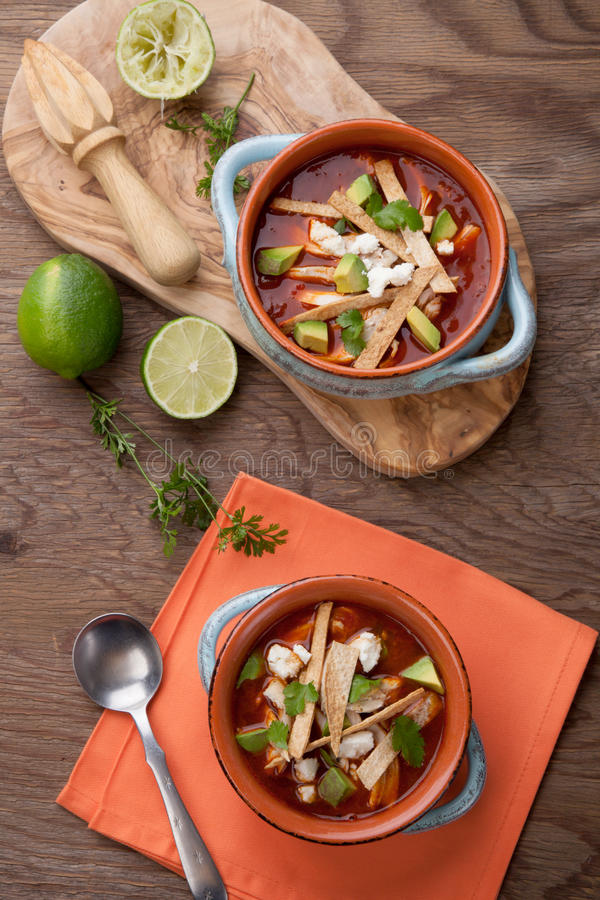 Download Spicy Chicken Tortilla Soup Stock Image - Image: 92006691