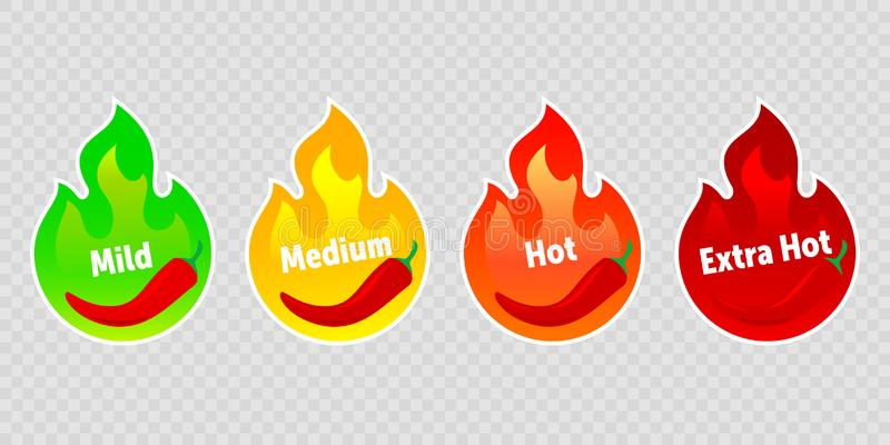 Spicy chili pepper hot fire flame labels. Vector spicy food level icons, green mild, medium and red extra hot jalapeno and tabasco. Pepper fire flame stickers vector illustration