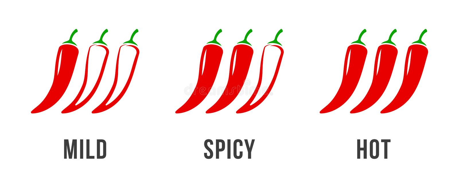 Spicy chili pepper level labels. Vector spicy food mild and extra hot sauce, chili pepper red outline icons. Spicy chili pepper level labels. Vector spicy food stock illustration
