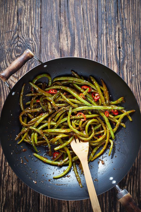 Spicy Chinese Sichuan stir-fried Green Beans royalty free stock photos