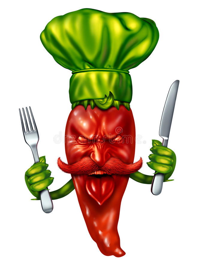 Spicy Cooking. Food concept with a hot red pepper character wearing a green chef hat holding a dinner fork and knife as a symbol of seasoned intense flavor stock illustration