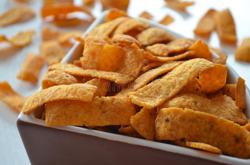 Spicy corn chips royalty free stock photos