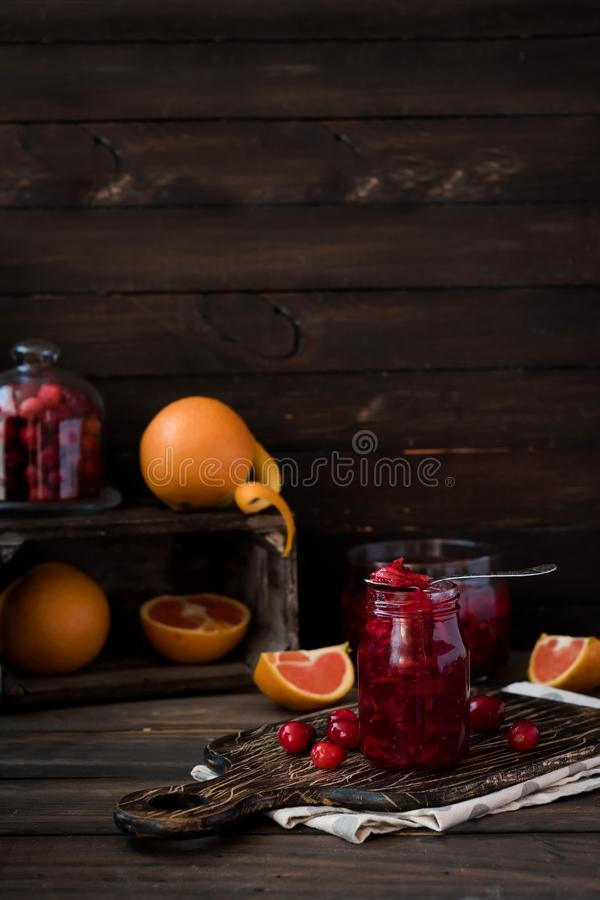 Spicy cranberry-orange sauce for meat stock photography