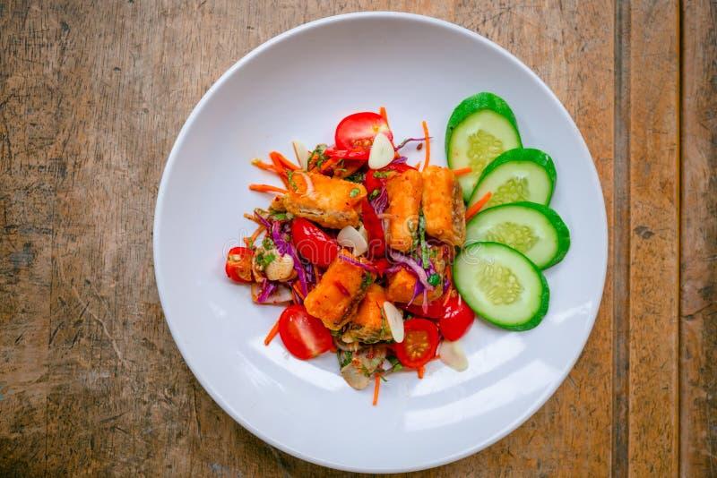 Salmon salad Thai style stock photo