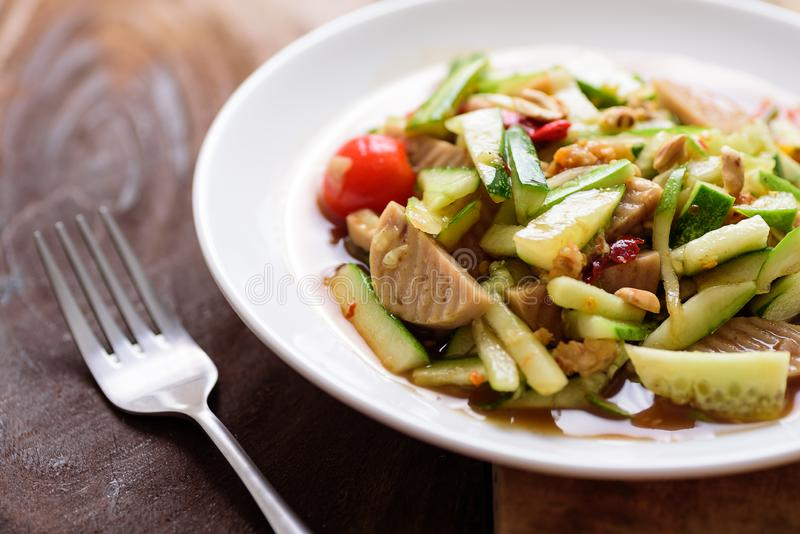 Spicy cucumber salad, Thai food royalty free stock photo