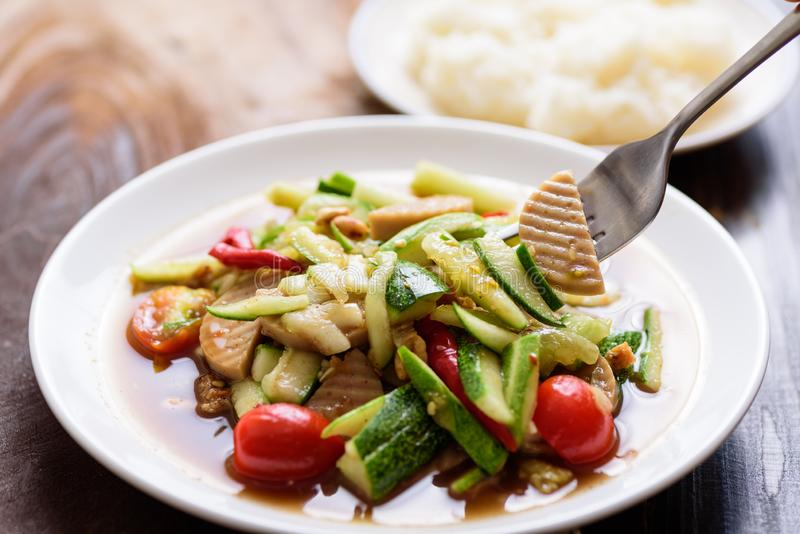 Spicy cucumber salad, Thai food royalty free stock photography