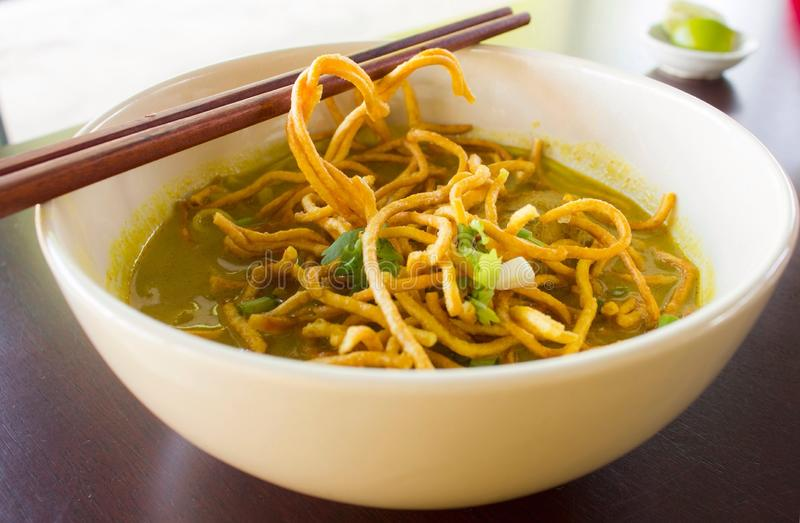 Spicy curry noodle soup royalty free stock photography
