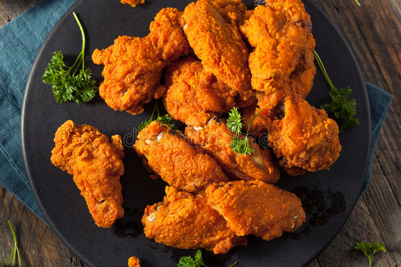 Spicy Deep Fried Breaded Chicken Wings. With Ranch stock image