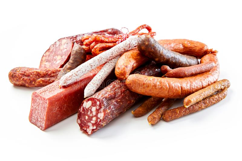 Spicy dried or smoked beef and pork sausages royalty free stock photo
