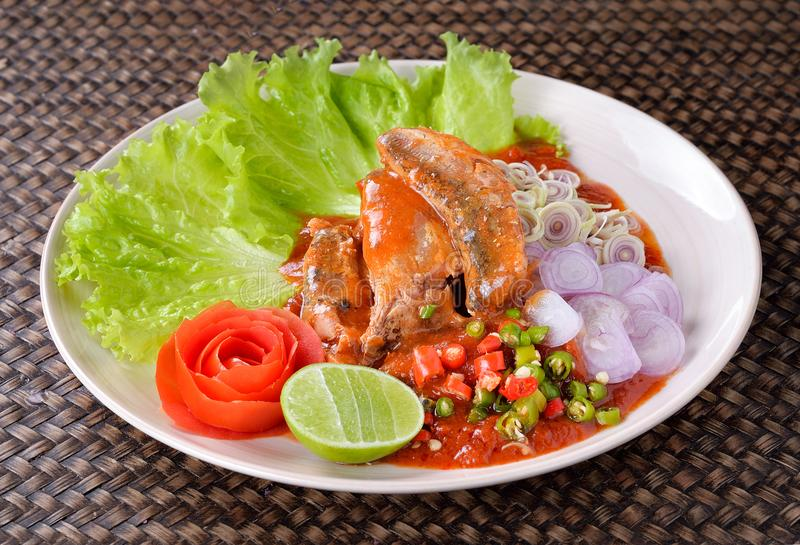 Spicy fish Canned Sardines Salad. Thai food stock photos