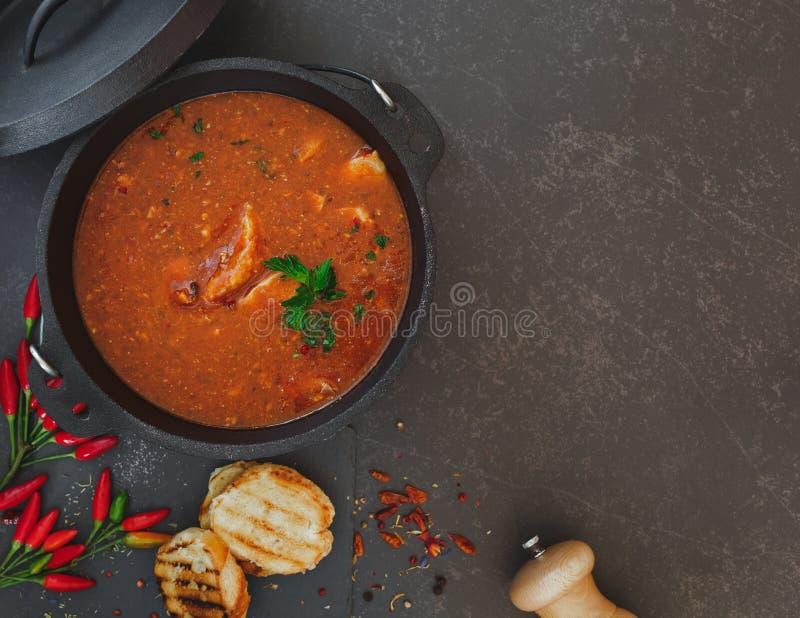 Spicy fish chowder stock photo