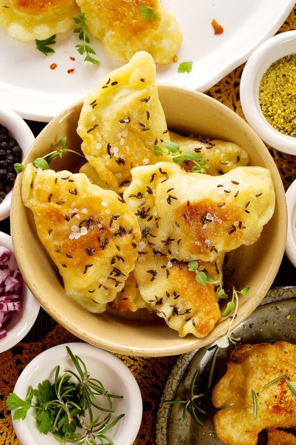 Spicy fried dumplings stock image