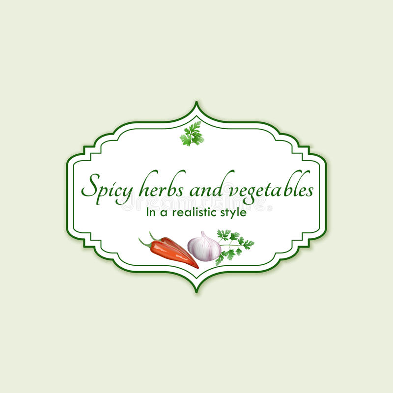 Spicy herbs and vegetables in a realistic style, frame. On background stock illustration
