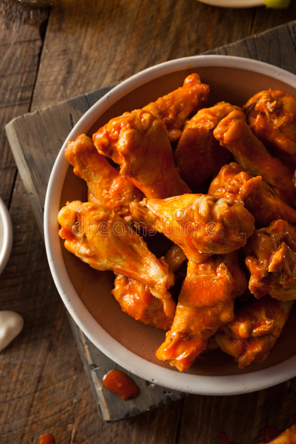 Spicy Homemade Buffalo Wings. With Dip and Beer stock photos