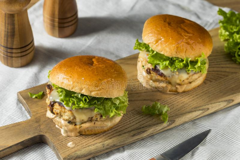 Spicy Homemade Chipotle Chicken Burger stock photo