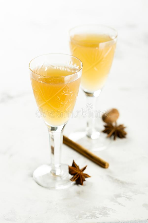 Spicy homemade liquor served for two. Spicy homemade liquor with nutmeg and cinnamon served for two royalty free stock photos