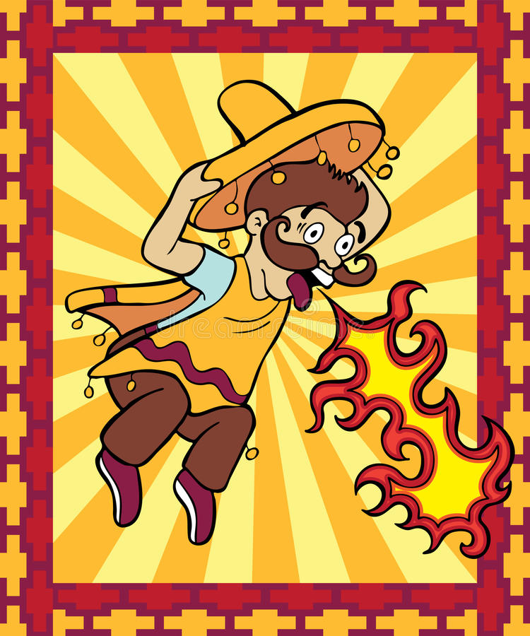 Spicy Hot with Background stock illustration