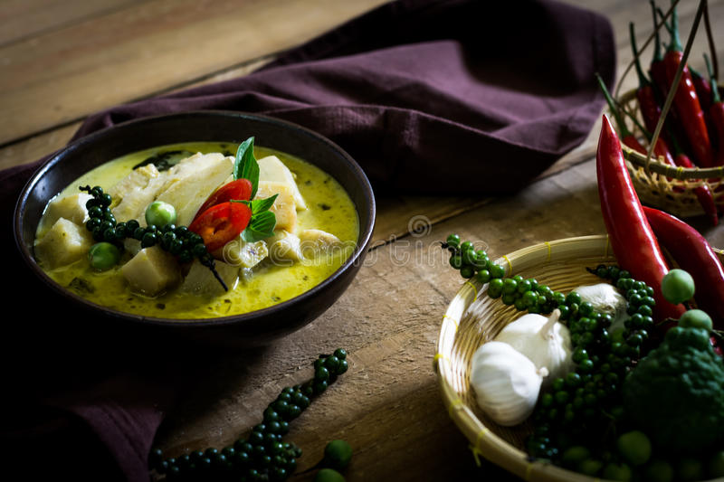 Spicy hot chicken green curry with coconut milk soup in bowl,thai food. Selective focus royalty free stock image