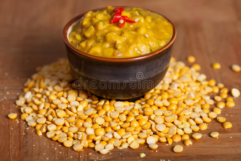 Spicy indian dish. Spicy indian lentil dish with chilies and spices stock photography