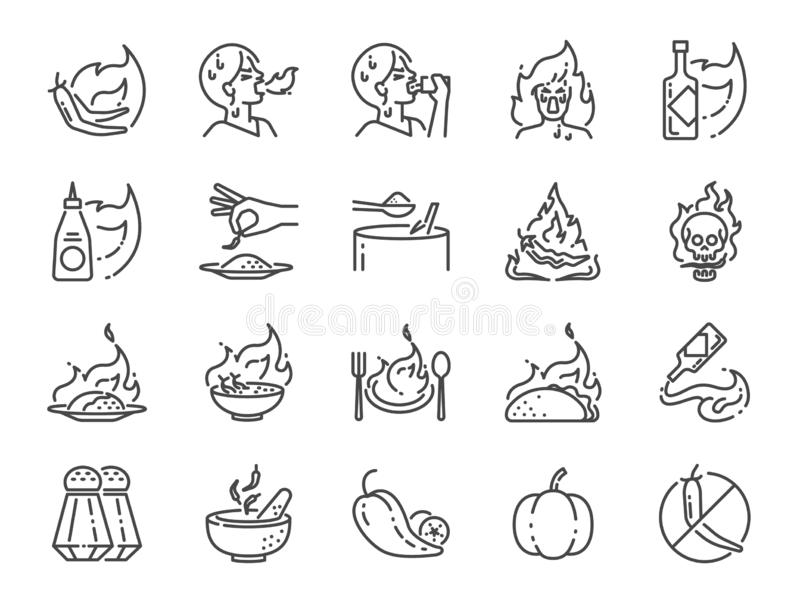Spicy line icon set. Included the icons as Tom yum kung, Chili, Ghost pepper, seasoning, flavor, hot and more. Vector and illustration: Spicy line icon set stock illustration