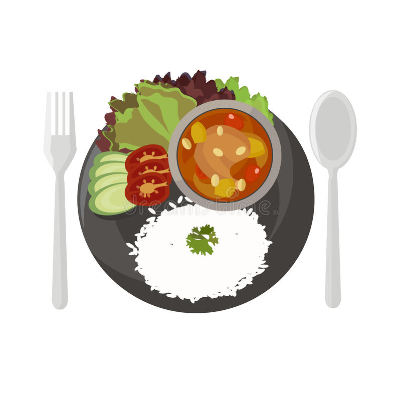 Thai food Spicy Muslim curry. Illustration royalty free illustration