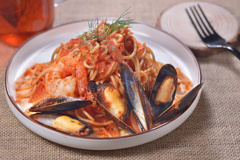 Spicy mussel shrimp spaghetti stock images