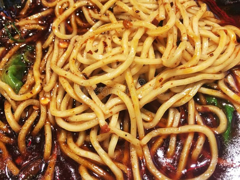Spicy noodle chongqing China. Noodle soup,Chinese traditional,chongqing royalty free stock photos