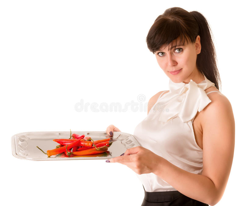 Spicy offer. In young woman hands on white background royalty free stock photos