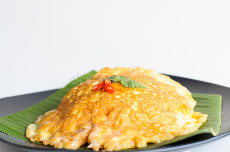 Spicy Omelet  On Banana Leaf Stock Photo