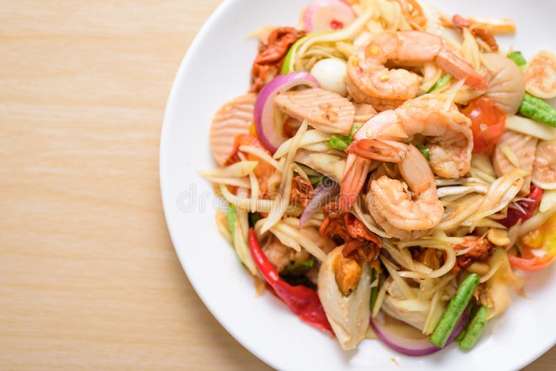 Spicy papaya salad with prawn, Thai food stock photography