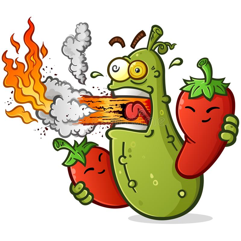 Free Spicy Pickle Cartoon With Hot Peppers Breathing Fire Stock Photos - 142171863