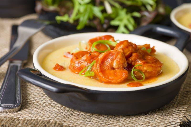 Spicy Prawns & Polenta stock photos