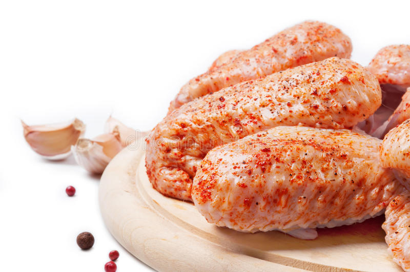 Download Spicy raw chicken wings stock image. Image of wooden - 24502153