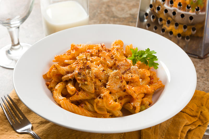 Spicy Red Pepper Chicken Torchietti. Pasta in a White Bowl royalty free stock photo