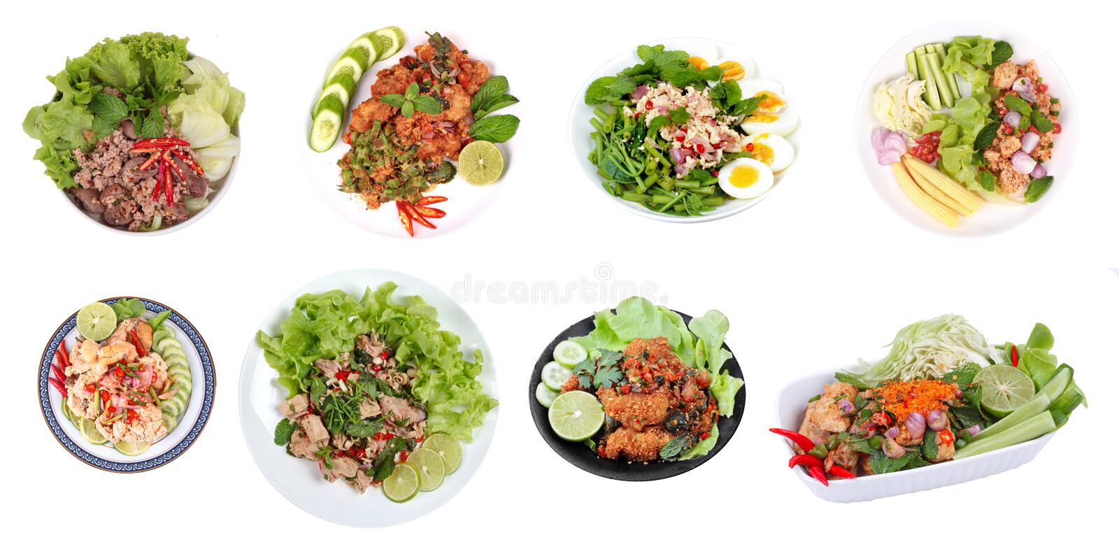 Spicy salad as ,Spicy and sour mixed herb salad with minced pork. Thailand best of spicy salad as ,Spicy and sour mixed herb salad with minced pork, deep-fried royalty free stock image